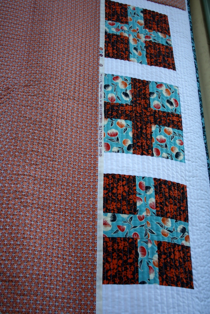Exposed Selvedge Edge on Quilt Back, Close Up