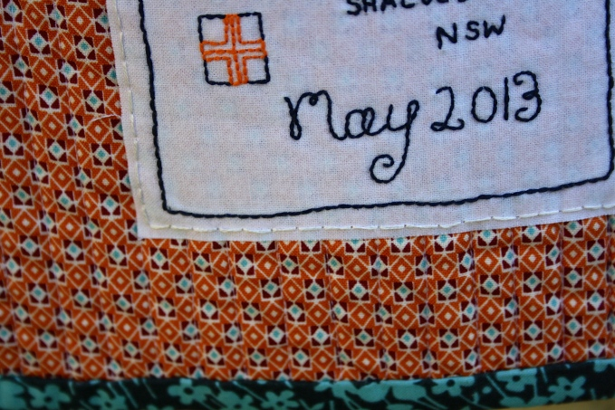 Hand Embroidered Quilt Label, Close Up Detail