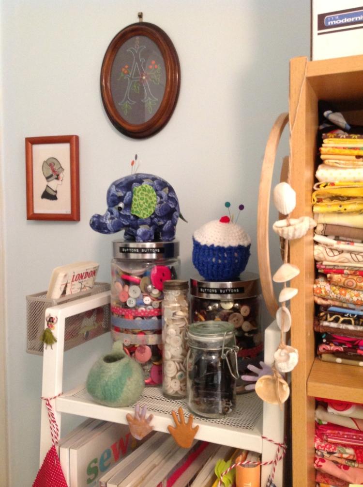 Jars of Buttons & Vintage Frames