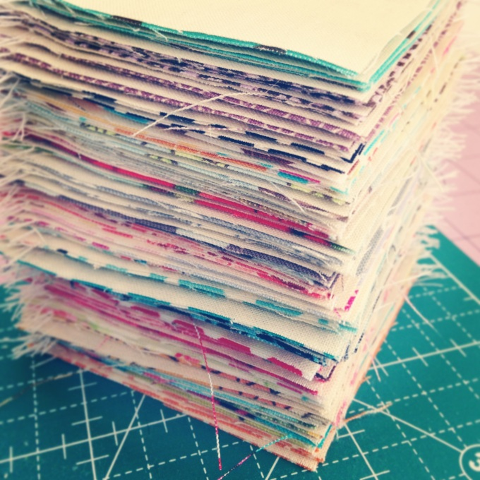 Freshly cut and pieced mini HST...ah, such delight!