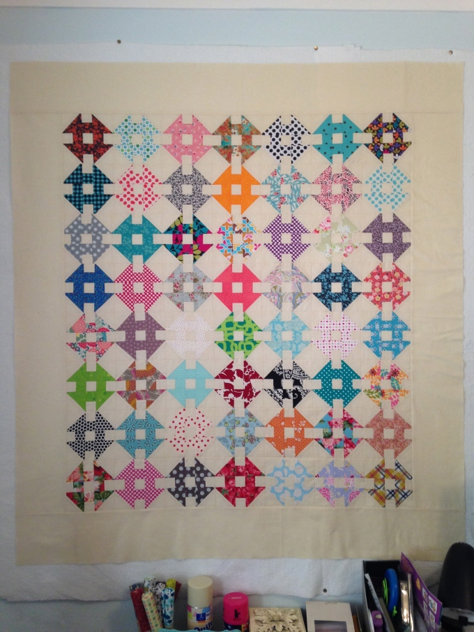 Completed   Double Wrench Mini Block Quilt top