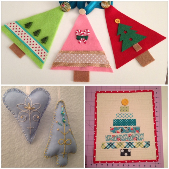 Felt Bunting, Embroidered Homespun Ornaments, Fabric Scrap Quilted Christmas Tree Wallhanging
