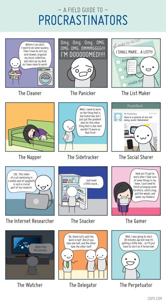 The 12 Types of Procrastinators Comic by Angela Liao | Pinterest