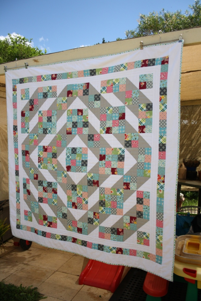 My finished Jacob's Ladder Quilt!