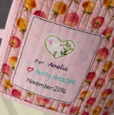 Amelia's Baby Quilt Label